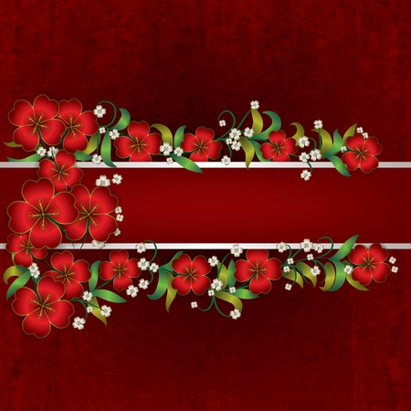 abstract red grunge background with red floral ornament Vector