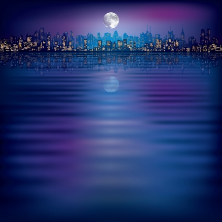 horizon reflection: abstract night background with silhouette of city and moon Illustration