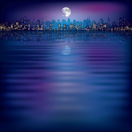 fondo de la noche abstracta con la silueta de la ciudad y la luna Ilustración de vector