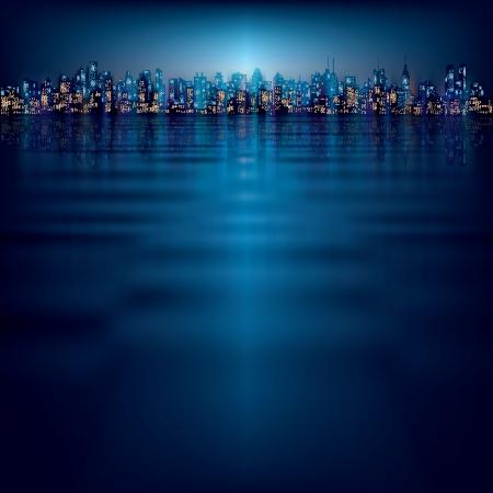 городской пейзаж: абстрактный фон ночь с силуэтом города