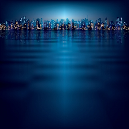 horizon reflection: abstract night background with silhouette of city
