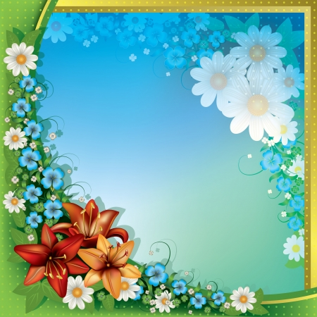 spotted flower: abstract spring floral background with orange flowers