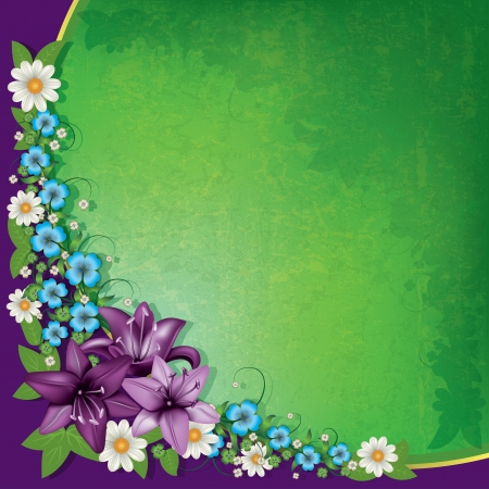 abstract spring floral background with purple flowers Vector
