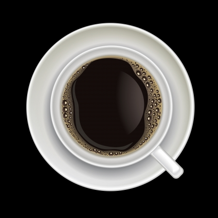 directly above: coffee cup isolated on a black background