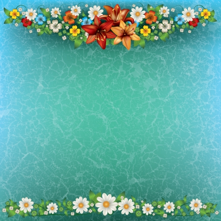 abstract spring floral background with flowers on blue