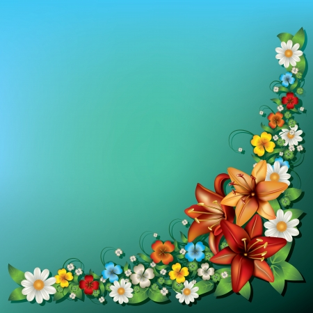 single color image: abstract spring floral background with flowers on green