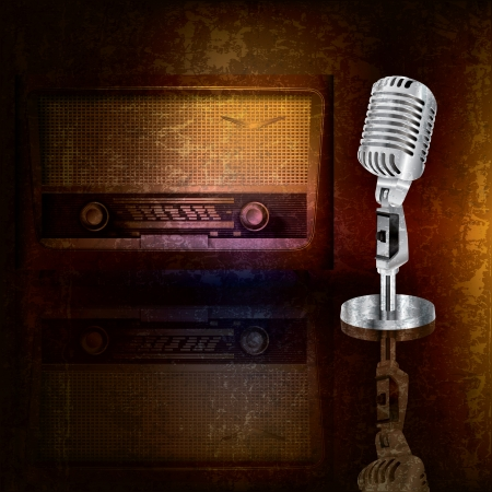 retro microphone: abstract background with retro microphone and radio Illustration