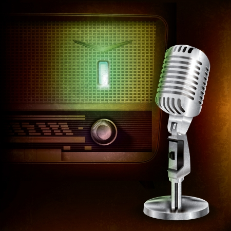 abstract background with retro radio and microphone Vector