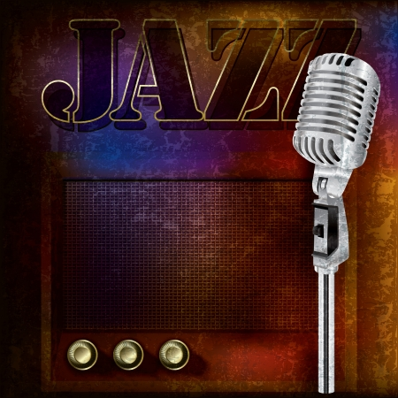 jazz music: abstract jazz background with retro microphone and radio Illustration