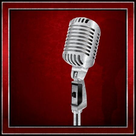 microfono antiguo: Resumen de fondo rojo con el micrófono retro