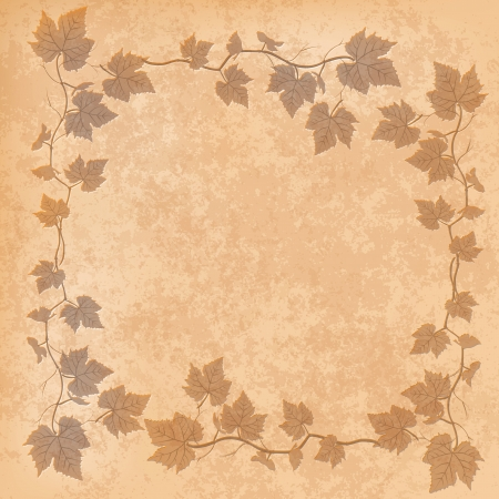 grunge illustration with grape leaves on beige background Vector
