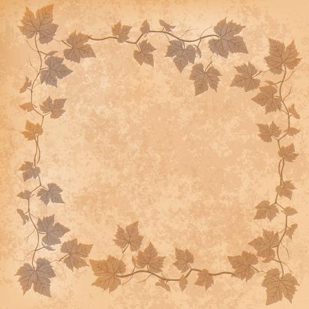 leave: grunge illustration with grape leaves on beige background