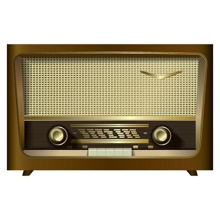 retro radio isolated on a white background