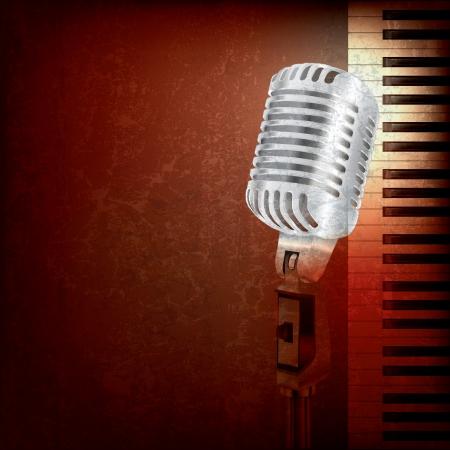осветительное оборудование: абстрактный фон гранж ретро микрофон и фортепиано