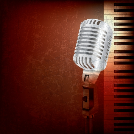 abstract grunge background with retro microphone and piano Çizim