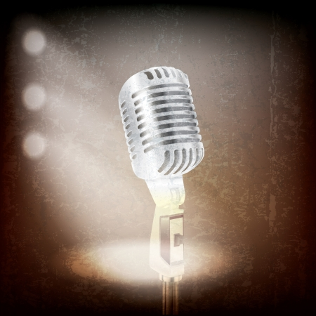 abstract grunge background with retro microphone and spotlights Vector