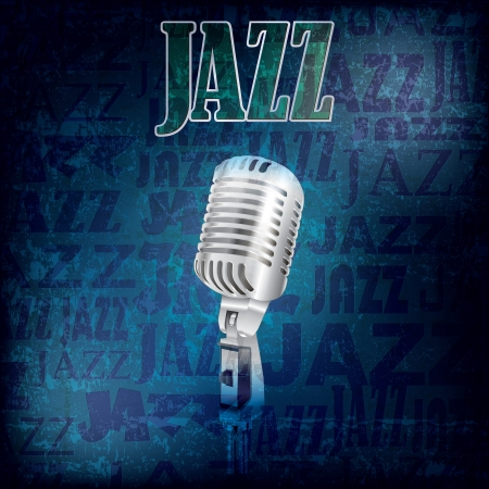 abstract grunge jazz background with retro microphone Vector
