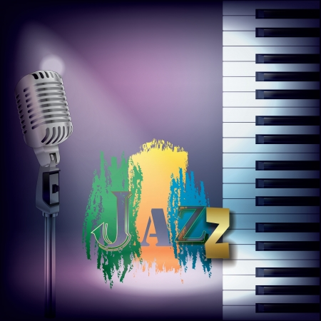 musical theater: abstract music background with retro microphone and piano