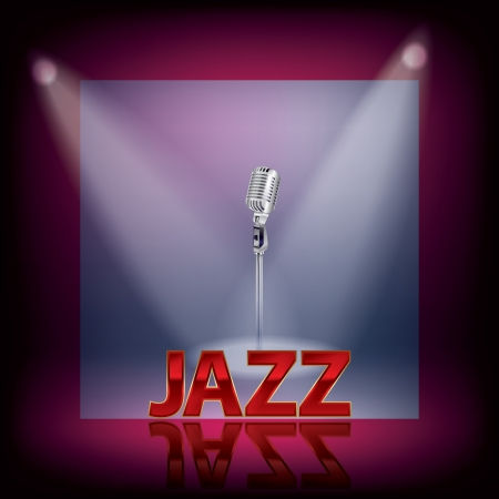 musical theater: abstract music background with retro microphone and spotlights