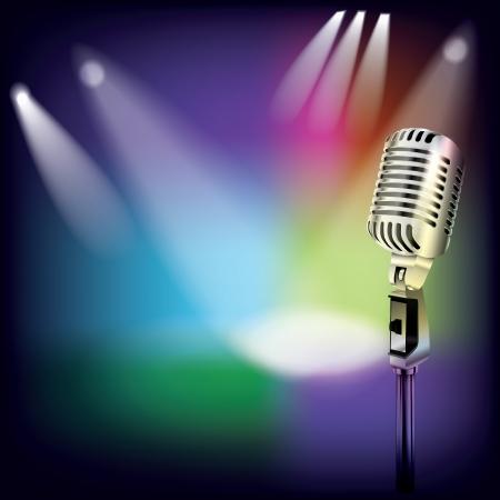 유명한: 무대에서 복고 마이크와 추상 음악 배경