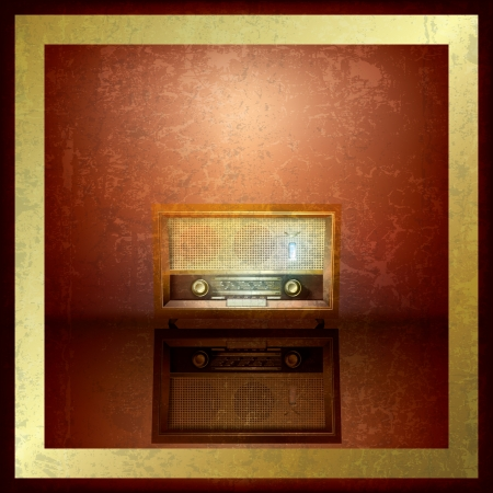 retro radio: abstract brown grunge background with retro radio