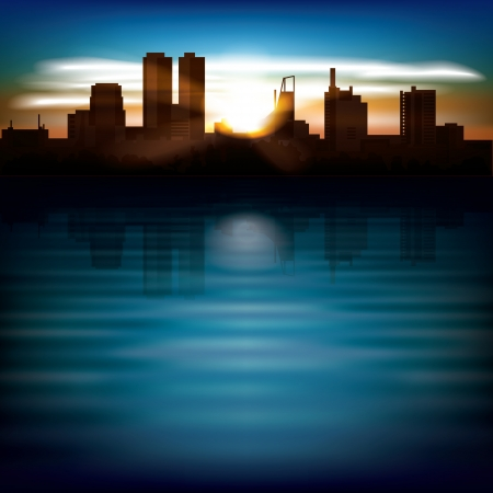 abstract background with sunrise and silhouette of city Vector