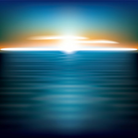 horizon over water: abstract background with sea sunrise and clouds