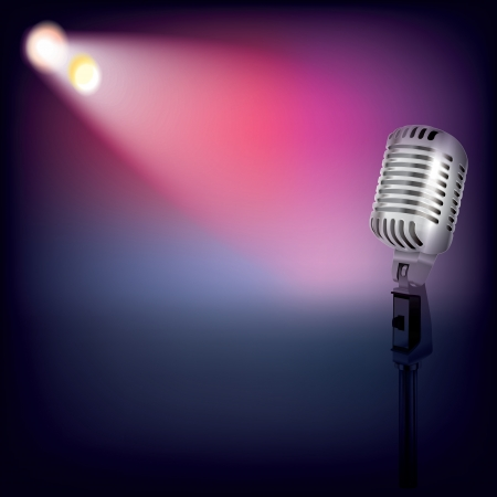 abstract music background with spotlights and retro microphone