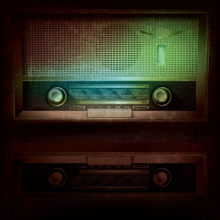 abstract music grunge background with retro radio Vector