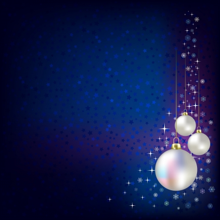 Christmas decorations and stars blue vector background Vector