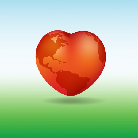 Valentine Day greeting with a heart shaped globe Vector