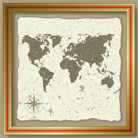 olden: Abstract background with olden cracked map and compass Illustration