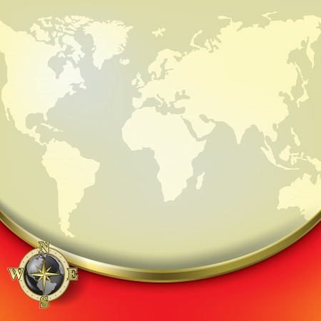 cartography: Abstract beige background with earth map and compass