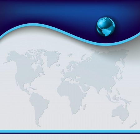 south east asia: Abstract conceptual background with blue globe and earth map Illustration