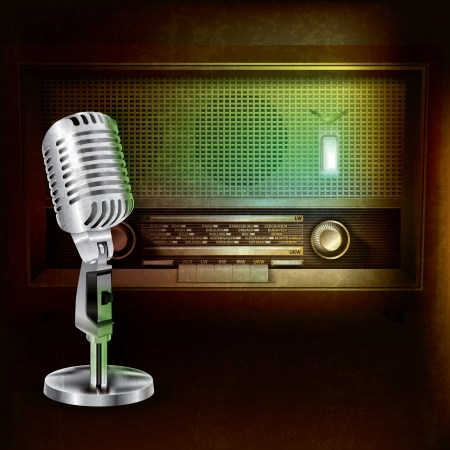fm radio: abstract grunge background with retro radio and microphone