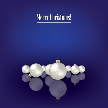 Abstract greeting with pearl Christmas decorations on dark blue