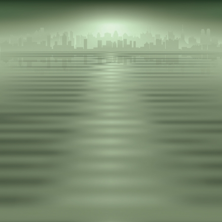 new york night: abstract green background with silhouette of city Illustration