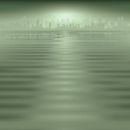 reflejo en el agua: Resumen fondo verde con la silueta de la ciudad