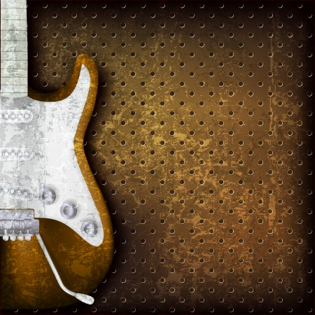 music sheet: abstract grunge brown background with electric guitar