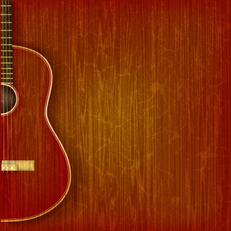 classical guitar: acoustic guitar on abstract grunge wood background