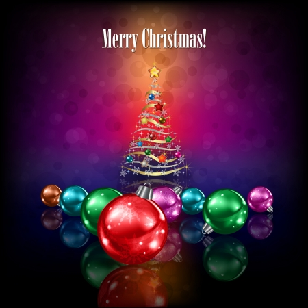 christmas trees: christmas tree and decorations on dark colour background
