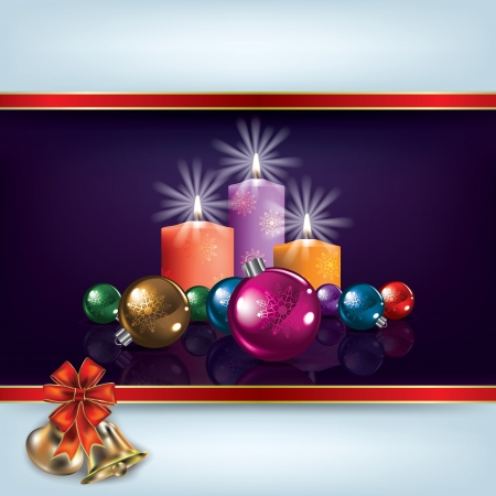 candle flame: Abstract Christmas illustration with decorations and candles Illustration