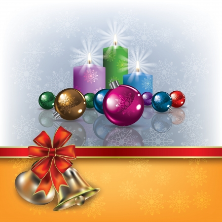 Abstract greeting with Christmas bells and decorations on grey