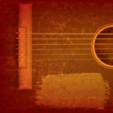 Abstract grunge music background with acoustic guitar Stock Illustratie