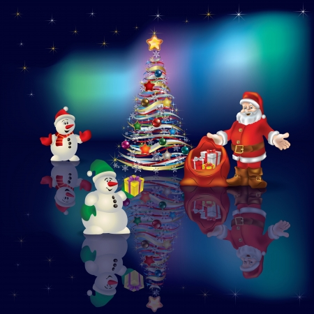 Abstract Christmas greeting with Santa Claus on aurora background
