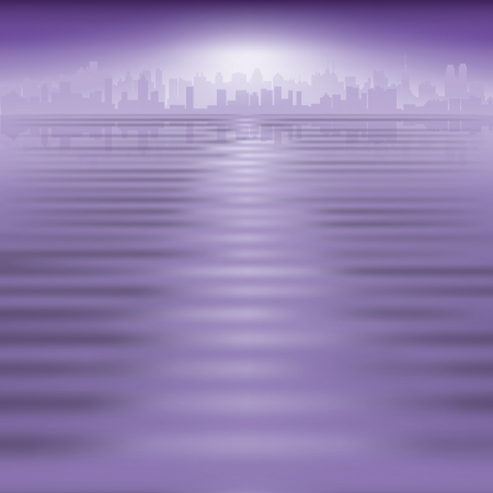 abstract purple background with silhouette of city Stock Vector - 15201583