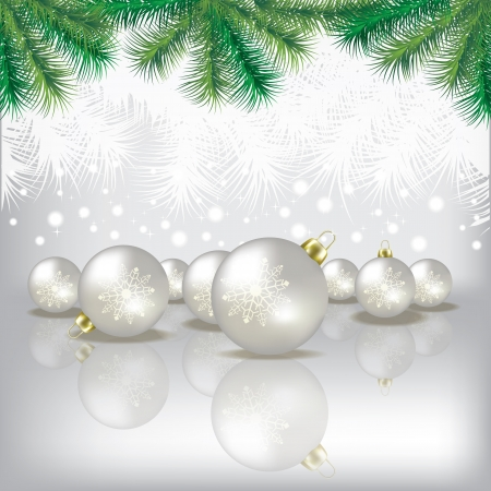 tranquil scene: Abstract white background with Christmas tree and decorations Illustration