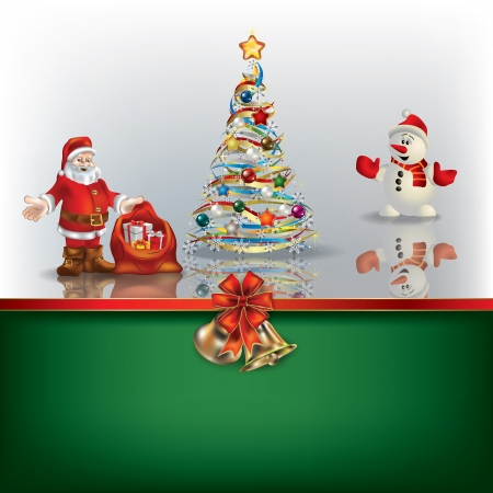 Abstract Christmas background with Sania snowman and tree Vector