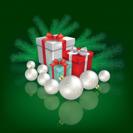 Abstract green greeting with Christmas gifts and decorations Vector