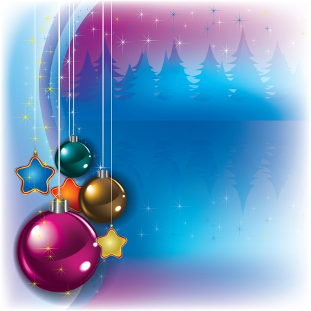 Abstract greeting with Christmas decorations and forest Vector